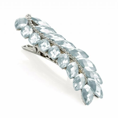Clear Faceted Bead Leaf Rhodium Hair Beak Clip